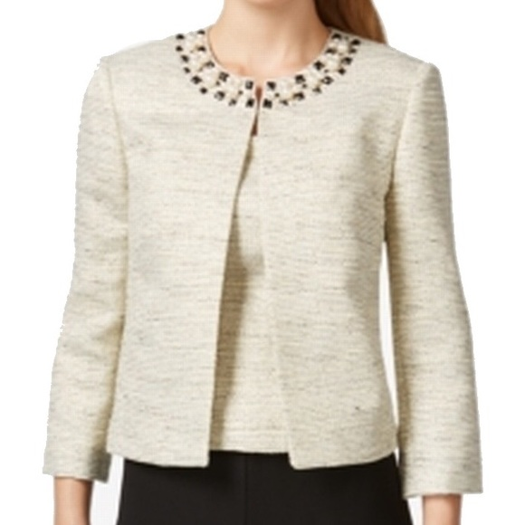 5cf07203c7 Tahari Jackets & Coats | Pearl 2 Piece Embellished Jacket Gold Set ...